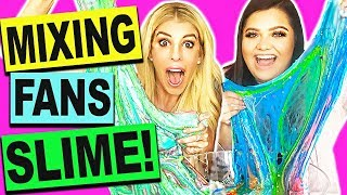 DIY MIXING FANS SLIMES WITH KARINA GARCIA! (GIANT SLIME SMOOTHIE NO BORAX)