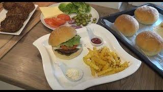 Evde Hamburger ekmegi ve Hamburger  köftesinin yapilisinin tarifi