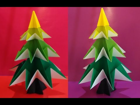 Easy Origami Christmas Tree (Jo Nakashima).  Christmas decoration.