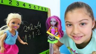 Barbie ailesi ile oynuyoruz. #Okuloyunu. Canavara dönüşen öğretmene iksir hazırlıyoruz.