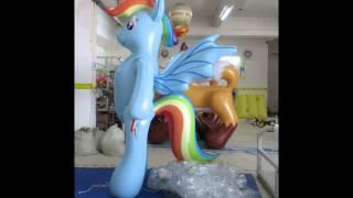 Inflatable rainbow pony dash double pvc layers costume
