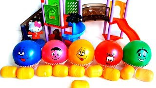Learn Colours with Balls Open Surprise Eggs Surprise Toys Finger Family Song Nursery Rhyme Play Area