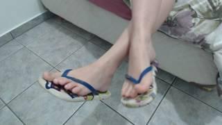 18yo teen dangling dirty flip flop