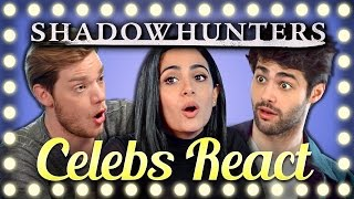 CELEBS REACT TO TRY TO WATCH THIS WITHOUT LAUGHING OR GRINNING (Shadowhunters Cast)