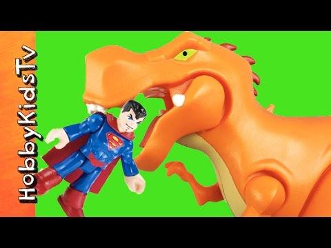 Superman FIGHTS Dinosaur T Rex Skeletons Pooped Out Eats Caveman Imaginext HobbyKidsTV