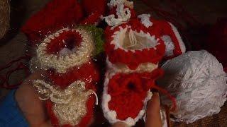 هاف بوت بيبي بطريقة اللسان -  crochet baby booties