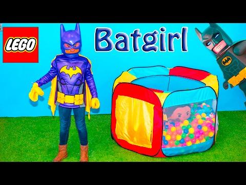 BATMAN Movie Assistant Plays Lego Movie Batgirl Bounce House Challenge Video