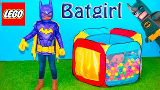 BATMAN Movie Assistant Plays Lego Movie Batgirl Bounce House Challenge Video