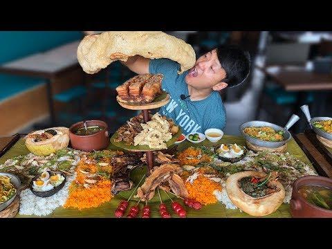 MASSIVE Filipino FOOD BATTLE Over 50 DISHES Boodle Fight