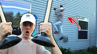CAN YOU CLIMB A WALL WITH TOILET PLUNGERS? | David Vlas