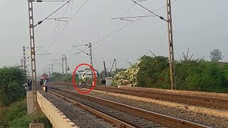 Dangerous act by local boys in front of Passenger Train-INDIAN RAILWAY