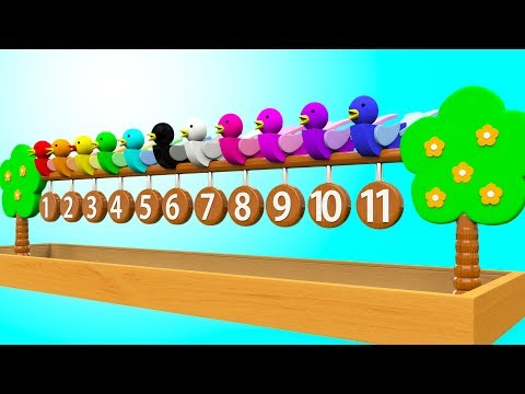 Learn Colors & Numbers for Children with Wooden Birds Tree Toy Kids Toddler Learning Educational Vid