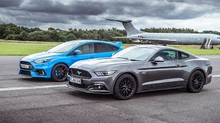 Ford Mustang vs Ford Focus RS | Top Gear: Drag Races