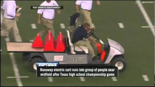 Accidente Insólito!! Carro Fuera de Control en Cowboys Stadium  Runaway Cart at Cowboys Stadium
