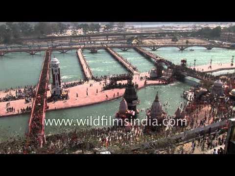 Naga Sadhus approach Har Ki Pauri ghat in Haridwar for Kumbh Mela