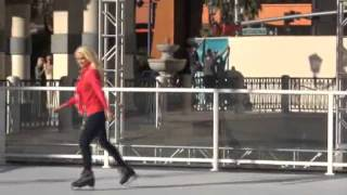 Stunning Playboy Icon Holly Madison ice skates on the Vegas strip 2011