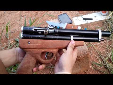 Air Pistol PCP .22 5.5 homemade Pistola PCP fabricação caseira .22 5.5