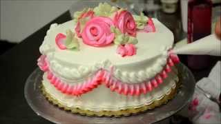 Basic Rose Swirl Cake With Whipped cream frosting Tutorial video
