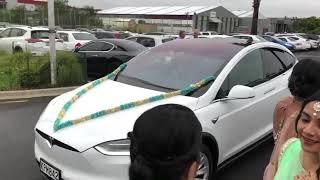 Wedding Entrance Indian Groom in Tesla Model X