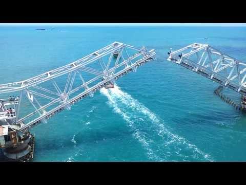 Rameshwaram Pamban Bridge Open - Very beautiful - high Quality