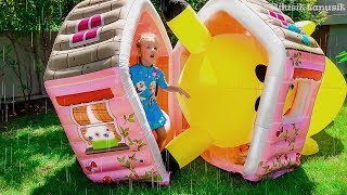 Pretend Play with PlayHouse for kids and Giant Toys Rain Rain Go Away