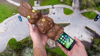 Can iPhone 7 Survive in Giant Chocolate Easter Bunny