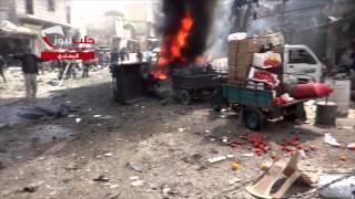 شِبكة حلب نيوز| هام | مجزرة مروعة يرتكبها طيران النظام بقصف سوق الخضار في حي المعادي 11-4-2015  +22