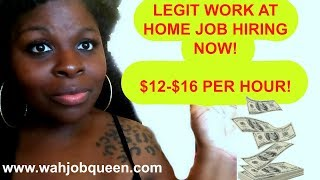 AMAZING WORK AT HOME JOB HIRING NOW! $12-$16 PER HOUR!
