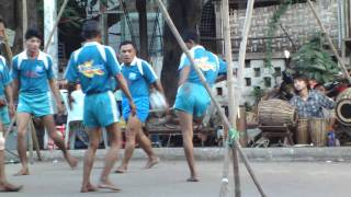 myanmar traditional sports(chinlone) match at street in mandalay