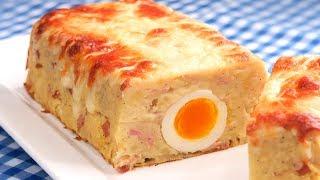 Pastel de Patatas de Jamón y Queso relleno con Huevos