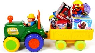 Tractor Filled with Many Surprise Eggs and Surprise Toys for Children Compilation Video for Kids