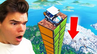 HOW FAR Can A Car FLY In FORTNITE?! (Fortnite Mega Ramp)