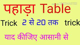 पहाड़ा Pahada { Table 2 to 20 } trick