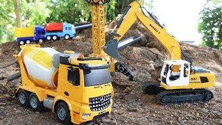 รถของเล่นบังคับวิทยุโม่ปูน รถแม็คโคร หินสีสไลด์เดอร์ Construction vehicles for children