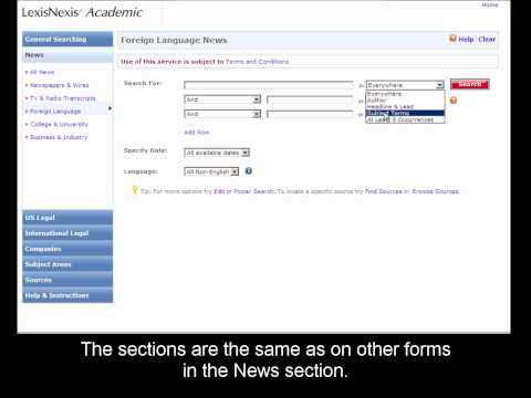 LexisNexis Academic: Searching Foreign Language News