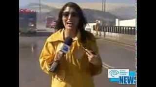 hot tv reporter goes wet totally in rain