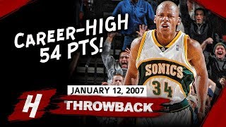 Ray Allen EPIC Full Career-HIGH Highlights vs Jazz (2007.01.12) - 54 Pts, 8 Threes!