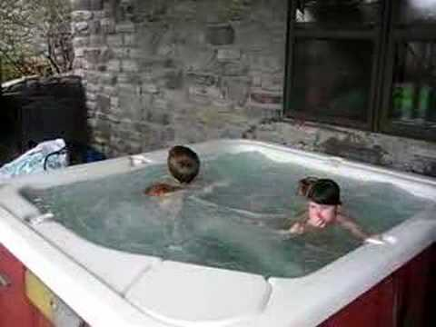 cousins in the hot tub