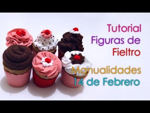 Tutorial Cupcakes de Fieltro Manualidades 14 de Febrero