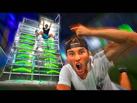 First to beat IMPOSSIBLE NINJA WARRIOR COURSE wins Trampoline park