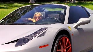 X17 EXCLUSIVE - Kylie Jenner Drives Freshly Painted $320K Ferrari With Top Down