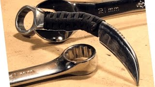 How to Make: RAZOR SHARP Knife From a Wrench (Karambit)