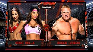 WWE 2K17 - Nikki Bella & Brie Bella VS Brock Lesnar | Gimmick Swap Concept (WWE 2K16 Mods)