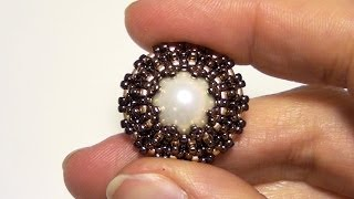 BeadsFriends: How to bezel a pearl using Seed beads and Delica beads | Beading Tutorial