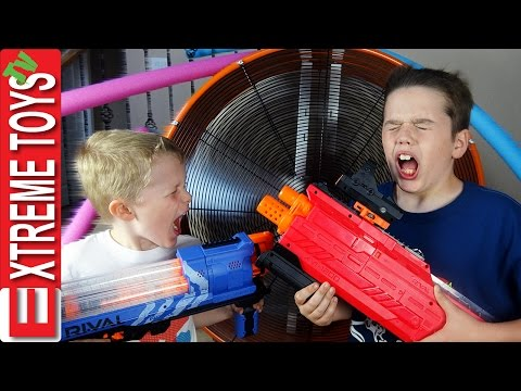 Nerf Trick Shot Battle Ultimate Challenge Who Is Better with the Nerf Rival Blasters