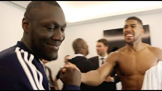 ANTHONY JOSHUA & STORMZY DISCUSS WHYTE KO, RING INVASION & NO HAND SHAKES  *EXCLUSIVE FOOTAGE*