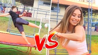 MENINOS vs MENINAS : FUTEBOL NA CAMA ELASTICA  !!!