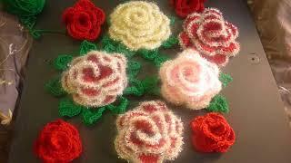 كروشيه الوردة العملاقة اذا حبيتوها اكتبوا بالتعليقات لتتعرفو ا على الطريقة
