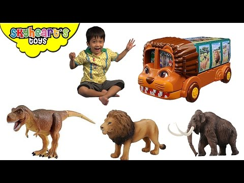 LION BUS with dinosaur and animal toys inside Takara Tomy Animal Planet Safari Zoo toys for Kids