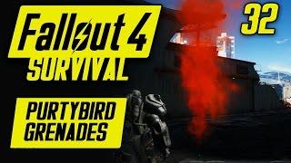 PURTIBIRD GRENADES - Fallout 4 Survival Mode Part 32 (Vertibird Signal Grenades)
